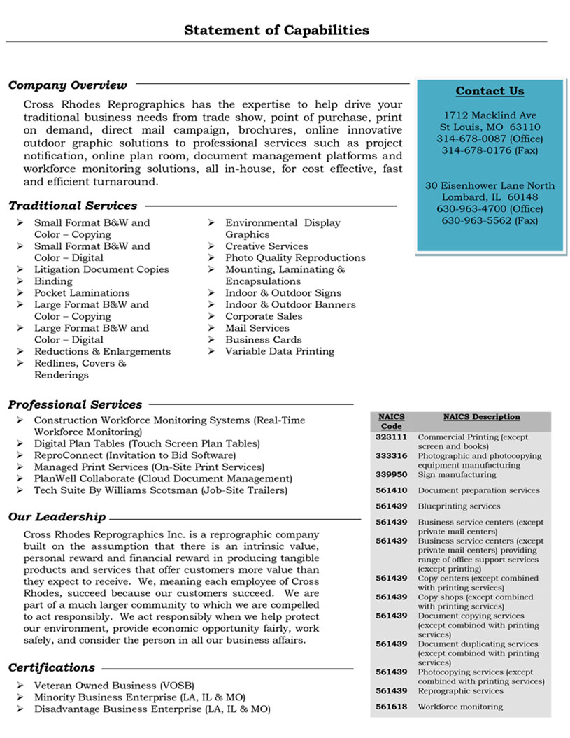Cross rhodes team capabilities statement malvernweather Gallery